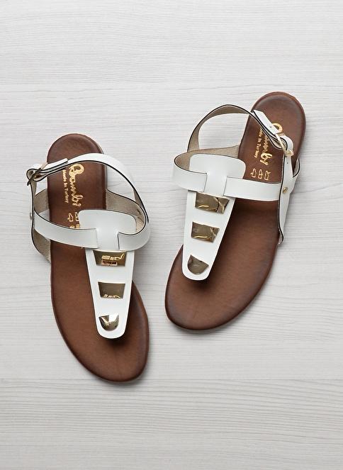 Bambi D0176434209 Beyaz Kadın Sandalet